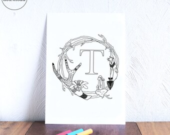 Monogram Wreath T, Tribal Nursery Printable Coloring Page, Initial A Wall Art, Adult Coloring Pages, Print and Color, Woodland Nursery Art
