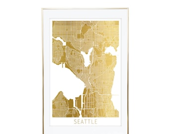 Seattle Map Gold Foil Print- Real Gold Foil, Gold Foil Printing, Foil Print, Gold Foil Maps, Foil Maps. Gold Foil Map Of the World