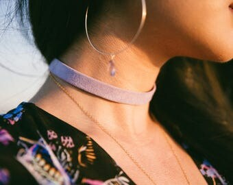 Leather Suede Choker, Leather Choker, Purple Choker, Purple jewelry, bohochic, bohemian style, bohemian jewelry, beach wear, minimal choker