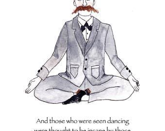 Friedrich Nietzsche card, Nietzsche yoga card, Nietzsche quote note card, Nietzsche greeting card, Nietzsche gift, Nietzsche illustration