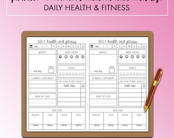 Traveler's Notebook Field Notes Pocket Daily Health & Fitness Insert Printable