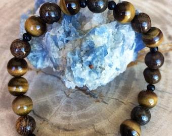 Tiger's Eye and Bronzite Stretch Bracelet! Handmade Premium Beads Healing Bracelet! Natural Healing Jewelry Meditation