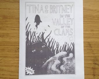 Tina & Britney in the Valley of the Clams, 16-page comic zine illustration drawing handmade DIY