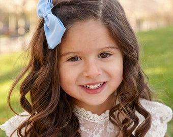 Light Blue Fabric Bow - Fabric Bows For Girls - Solid Fabric Hair Bow
