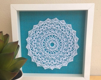 String Art: Cotton Traditional Circle, Framed Wall Art, Wall Decor, Gift, String Art, String Mandala, Mandala, Fibre Art