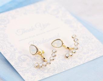 Ear Jacket Earrings | Bridesmaid Card | Wedding Jewelry | Wedding Thankyou | Ear Jacket | Bridal Party Card | Bridesmaid Earrings | Jewelry