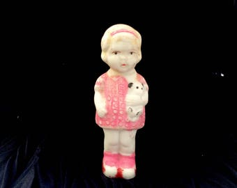 Miniature Bisque Doll Girl with Puppy Japan 1920s to 1930s