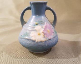 """Vintage Roseville Pottery Cosmos Blue 4"""" Bud Vase"""