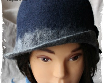 Felt hats, Womens winter hats, Сloche hat, Retro hat for women, blue hat, gift for her, Unique handmade