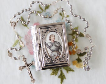Vintage All Metal Catholic Rosary with Holy Images Spacer Medals - Housed in Metal Case w St. Joan of Arc Picture - Free Shipping
