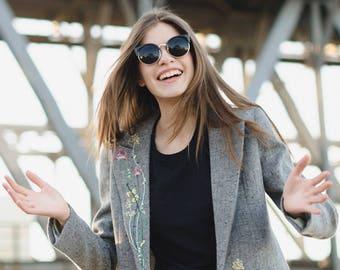 Spring wool jacket / woman gray jacket
