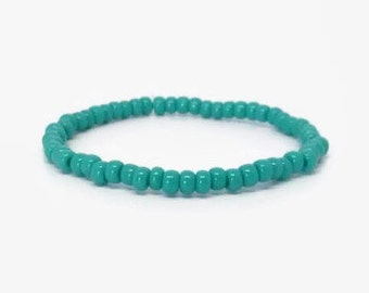 Turquoise Bracelet, Stretchy Bracelet, Stack-able Bracelet,  Blue Boho bracelet, Small Bead Bracelet,  light blue bracelet, Roll on bracelet