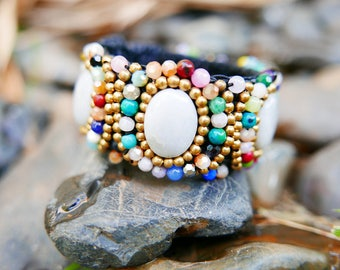 White Gold Colourful Art Beaded Jewelery Bangle braided with Rope I Hand Crafted Fantasy Beads Accessories
