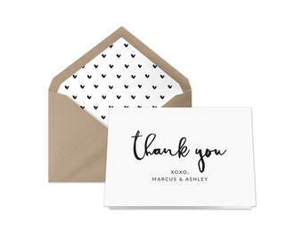 Printable Wedding Thank You Card | Black and White Calligraphy Thank You Card | Personalized Thank You Card |  Rustic | Modern Typography