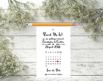 Custom Pencil us in Save The Dates Tag Save the date tag Pencil Save the Date Pencil Us In Date Saver Save the date card with calendar