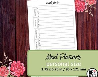 Meal Planner Printable, PERSONAL INSERTS, Fitness Meal Planner, Weekly Menu Planner, Filofax Personal, Kikki K Medium, Planner Printables