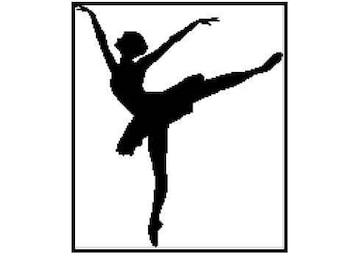 Black and white ballerina silhouette cross stitch pattern in pdf