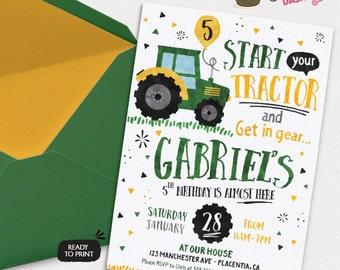 Tractor Birthday Party invitations Farmer Birthday Party printable invitations  Watercolors birthday invitations