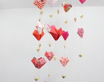 Valentine, mobile paper, mobile room decoration, origami, heart, large mobile