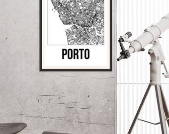 Porto City Map Print - Black and White Minimalist City Map - Porto Map - Porto Art Print - Many Sizes/Colours Available