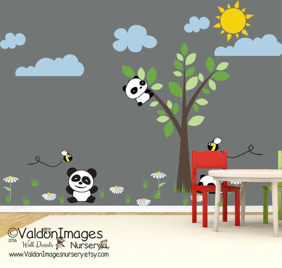 Pandas and daisies wall decal nursery decals kids room wall for Panda bear decor