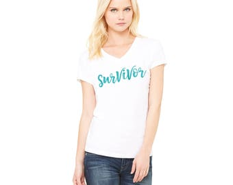 Survivor, Ovarian Cancer shirt, Ovarian Cancer Awareness, Teal Ribbon Shirt, Cervical Cancer Shirt, Cervical Cancer, chemo shirt