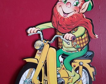 Vintage Saint Patrick's Day decoration, Leprechaun on bicycle