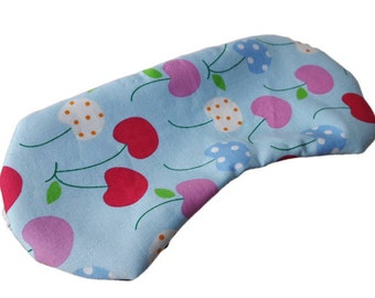 Blue and red and pink cherries sleep mask
