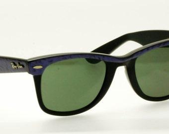 ray ban vintage hg22  Ray-Ban Vintage Wayfarer  Purple Eyebrow Ebony Black Sunglasses 5022 USA   Bausch & Lomb