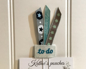 "Sweet little Feltie - Paperclip, Bookmark ""To-Do-Ribbons"", glittering"