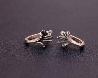 Vintage silver Lily flower earrings USSR silver earrings