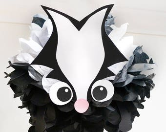 Skunk - Tissue Paper Animal Pom Pom Kit