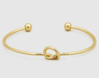 Metal knotted ball closure cuff bangle bracelet