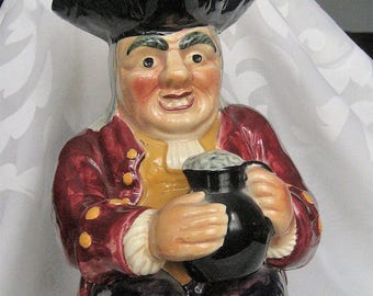 Staffordshire Toby Character Jug Englishman Holding Flagon Hand Painted Shorter & Son RARE Antique Toby Character Jug Man Cave Decor Gift