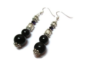 Obsidian and stardust bead earrings / Beaded earrings / Dangle earrings / Whimsical earrings / Dainty earrings / Black and silver earrings