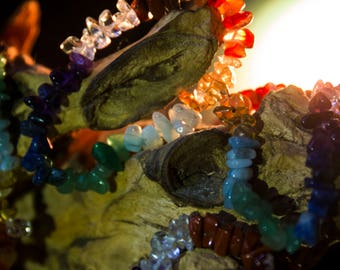 Rainbow Chakra Crystal Chip Bracelet