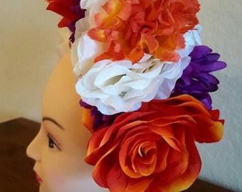 Day of the dead headpiece, dia de los muertos, floral headband, flower crown, halloween