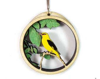 Indian golden oriole - Necklace - bird jewelry - wooden jewelry -Hand painted - Handmade - Laser cut - nvillustration