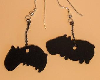 Guinea pig earrings in black shrink wrap guinea pig earrings black shrink