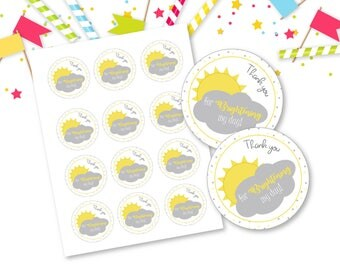 You Are My Sunshine Favor Tags -  INSTANT DOWNLOAD - Baby Shower Party Thank you Tags, treat bag tags, stickers, cupcake toppers