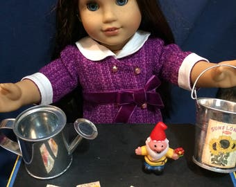 Gardening set for 18 inch Doll/American Girl doll.  Watering can, bucket, seeds, gnome. 18 inch doll items,  18 inch doll accessories