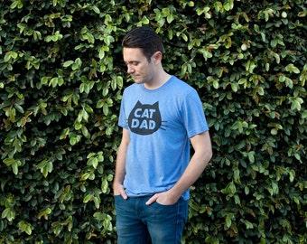 Cat T-Shirt Cat Dad, Unisex T-Shirt, Blue Heather Cat T-Shirt
