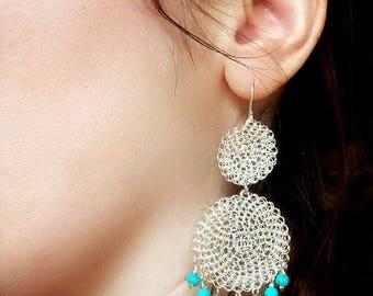 Crochet earrings, dangle earrings, silver, turquoise, boho, beaded, crochet jewelry, statement, hippie, bohemian, handmade, crocheted