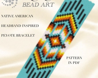 Peyote pattern for bracelet - Native American headband inspired peyote bracelet pattern PDF instant download