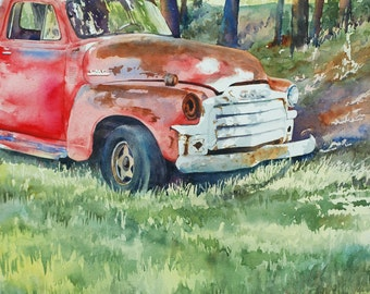 Old red GMC vintage truck watercolor print