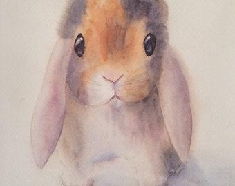 Tiny Bunny Original Watercolor Painting