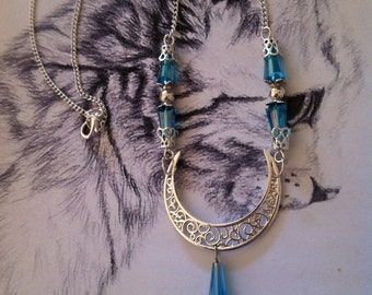 """Necklace """"Mithril blue"""" Moon beads Blue Crystal"""