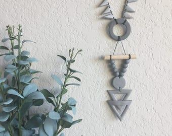 Handmade Wall Hanging, Boho Decor, Grey Decor