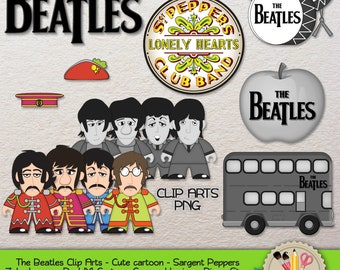 CLIP ART - The Beatles B&W- Cute cartoon - Sgt. Pepper's Lonely Hearts Club Band - John Lennon, Paul McCartney, George Harrison, Ringo Starr