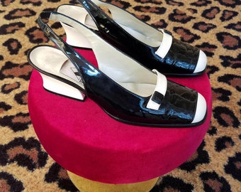 Clean, Vintage, 1990's, 1960's, Amour, Black, White, Patent Leather, Slingback, Shoes, Heels